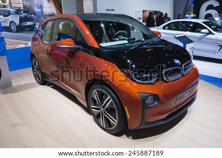 DETROIT, MI, USA - JANUARY 12, 2015: BMW i3 on display during the 2015 Detroit International Auto Show at the COBO Center in downtown Detroit.
