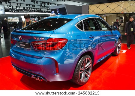 DETROIT, MI, USA - JANUARY 13, 2015: BMW X6M on display during the 2015 Detroit International Auto Show at the COBO Center in downtown Detroit.