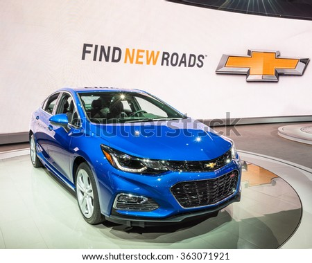DETROIT, MI/USA - JANUARY 11, 2016: Chevrolet Cruze RS car at the North American International Auto Show (NAIAS), one of the most influential car shows in the world each year. - stock photo