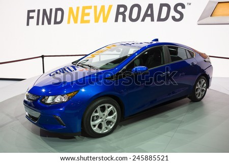 DETROIT, MI, USA - JANUARY 12, 2015: Chevrolet Volt hybrid on display during the 2015 Detroit International Auto Show at the COBO Center in downtown Detroit. - stock photo