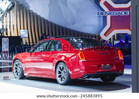 DETROIT, MI, USA - JANUARY 13, 2015: Chrysler 300 on display during the 2015 Detroit International Auto Show at the COBO Center in downtown Detroit. - stock photo
