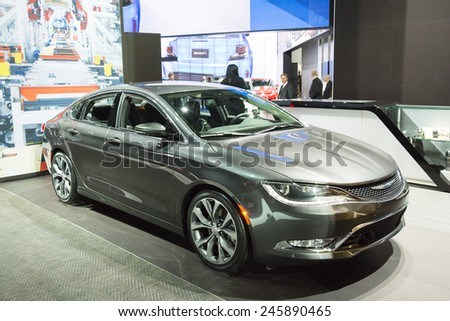 DETROIT, MI, USA - JANUARY 12, 2015: Chrysler 200 sedan on display during the 2015 Detroit International Auto Show at the COBO Center in downtown Detroit. - stock photo