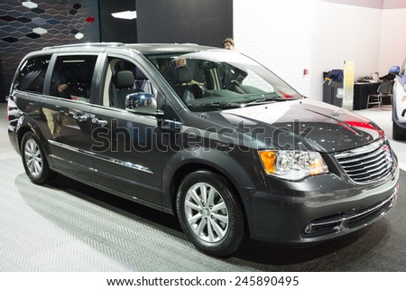 DETROIT, MI, USA - JANUARY 12, 2015: Chrysler Town and Country mini van on display during the 2015 Detroit International Auto Show at the COBO Center in downtown Detroit. - stock photo