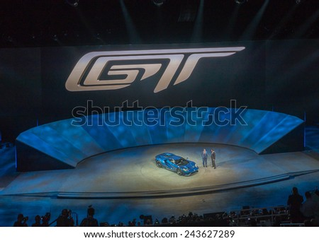 DETROIT, MI/USA - JANUARY 12, 2015: Ford Executive Chairman Bill Ford and CEO Mark Fields / 2016 Ford GT at the North American International Auto Show (NAIAS). 2015 EyesOn Design winner.