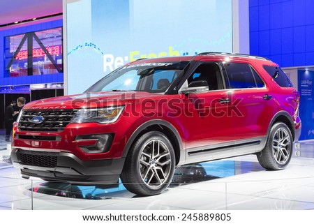 DETROIT, MI, USA - JANUARY 12, 2015: Ford Explorer on display during the 2015 Detroit International Auto Show at the COBO Center in downtown Detroit. - stock photo