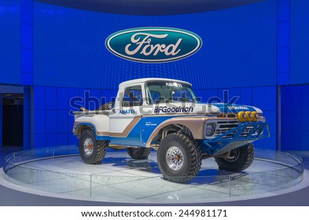 DETROIT, MI/USA - JANUARY 12, 2015: 1966 Ford F-100 NORRA race truck, driven by Team Abatti, at the North American International Auto Show (NAIAS). - stock photo