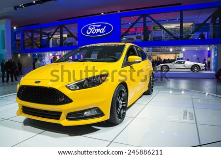 DETROIT, MI, USA - JANUARY 12, 2015: Ford Focus ST on display during the 2015 Detroit International Auto Show at the COBO Center in downtown Detroit. - stock photo