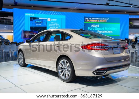 DETROIT, MI/USA - JANUARY 12, 2016:   Ford Fusion car at the North American International Auto Show (NAIAS), one of the most influential car shows in the world each year. - stock photo