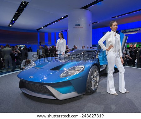 DETROIT, MI/USA - JANUARY 12, 2015: 2016 Ford GT at the North American International Auto Show (NAIAS). 2015 EyesOn Design Best Designed Production Vehicle. - stock photo