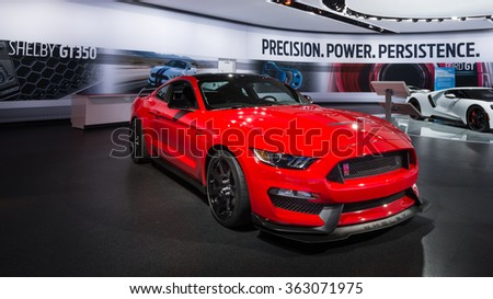 DETROIT, MI/USA - JANUARY 12, 2016: Ford Mustang Shelby GT350R car at the North American International Auto Show (NAIAS), one of the most influential car shows in the world each year. - stock photo