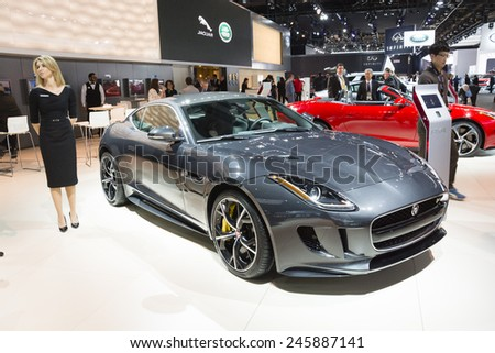DETROIT, MI, USA - JANUARY 12, 2015: Jaguar F-Type on display during the 2015 Detroit International Auto Show at the COBO Center in downtown Detroit.