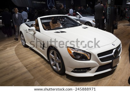 DETROIT, MI, USA - JANUARY 12, 2015: Mercedes SL-Class on display during the 2015 Detroit International Auto Show at the COBO Center in downtown Detroit.