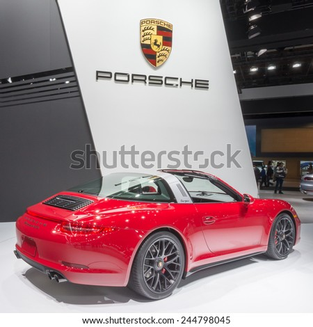 DETROIT, MI/USA - JANUARY 13, 2015: Porsche 911 Targa 4 GTS car at the North American International Auto Show (NAIAS), one of the most influential car shows in the world each year. - stock photo