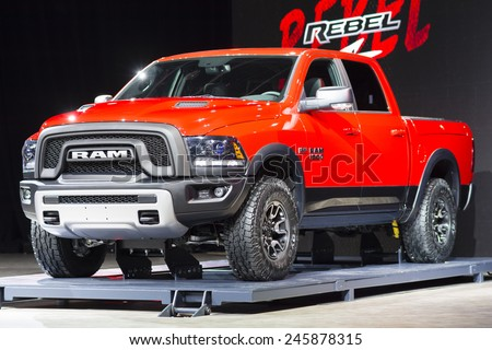 DETROIT, MI, USA - JANUARY 13, 2015: RAM Rebel on display during the 2015 Detroit International Auto Show at the COBO Center in downtown Detroit. - stock photo