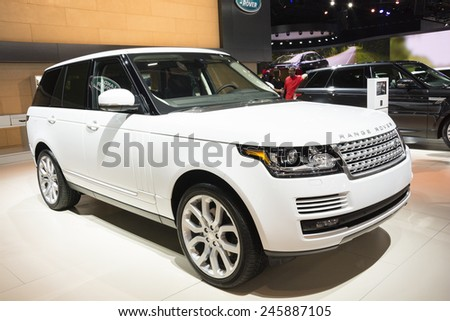 DETROIT, MI, USA - JANUARY 12, 2015: Range Rover on display during the 2015 Detroit International Auto Show at the COBO Center in downtown Detroit. - stock photo
