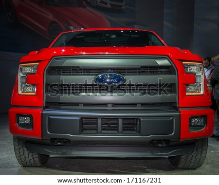 DETROIT, MI/USA - JANUARY 13: The 2014 Ford F150 FX4 truck is announced at the North American International Auto Show (NAIAS) on January 13, 2014, in Detroit, Michigan. - stock photo