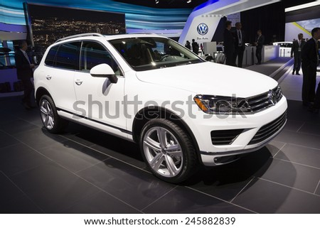 DETROIT, MI, USA - JANUARY 12, 2015: Volkswagen Touareg on display during the 2015 Detroit International Auto Show at the COBO Center in downtown Detroit.