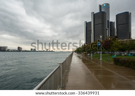 Detroit, MI, USA Sept 18, 2015.  Moody cloudscape of the Detroit River and General Motors Headquarters at the Renaissance Center. - stock photo