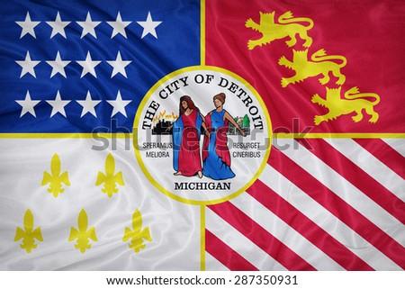 Detroit ,Michigan flag on fabric texture,retro vintage style - stock photo