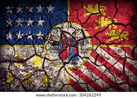 Detroit ,Michigan flag pattern on crack soil texture,retro vintage style - stock photo