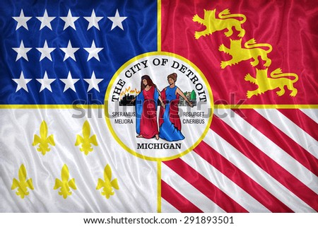 Detroit ,Michigan flag pattern on the fabric texture ,vintage style - stock photo