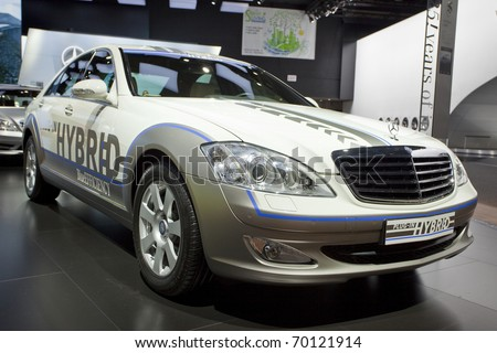 DETROIT, MICHIGAN - JANUARY 18: A new plug-in hybrid s-500 Mercedes Benz is on display at the 2011 North American International Auto Show on January 18, 2011 in Detroit, Michigan. - stock photo