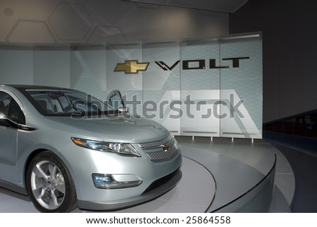 DETROIT, MICHIGAN - JANUARY 25: The Chevrolet Volt as seen at the 2009 North American International Auto Show on Jan. 25, 2009 in Detroit, Michigan. This should be in dealer showrooms by late 2010. - stock photo