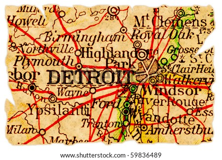 Detroit, Michigan on an old torn map from 1949, isolated. Part of the old map series. - stock photo