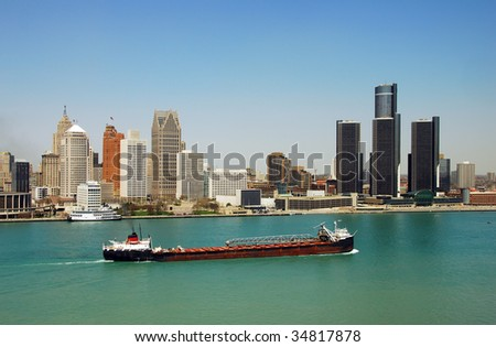 Detroit's downtown and waterfront panoramic view - stock photo