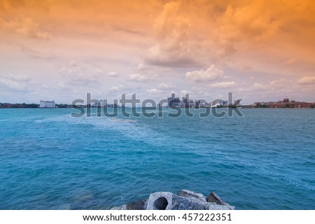 Detroit Skyline - stock photo