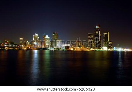Detroit Skyline at Night - stock photo