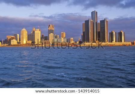Detroit skyline at sunrise from Windsor, Canada - stock photo