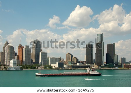 Detroit skyline daytime - stock photo