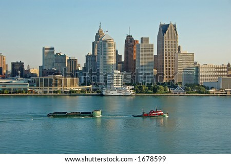 detroit skyline during day - stock photo