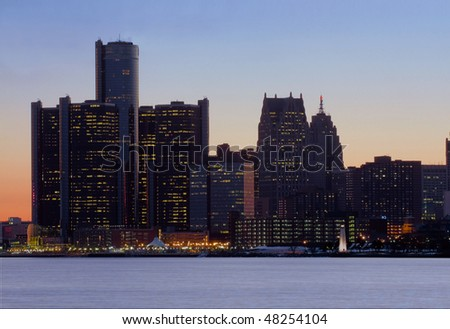 Detroit skyline just after sunset shot from Belle Isle Park - stock photo