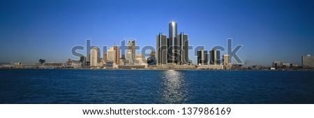 Detroit skyline, Michigan - stock photo