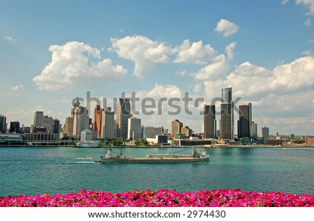 Detroit skyline typical for American cities - stock photo