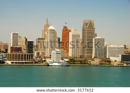 Detroit waterfront by day - stock photo