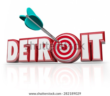Detroit word in red 3d letters and an arrow in a target or bulls-eye in the letter O to illustrate focus on the motor city or auto industry - stock photo