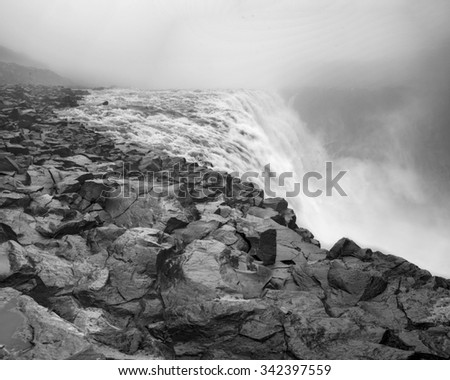 Dettifoss - the most powerful waterfall in Europe in black and white