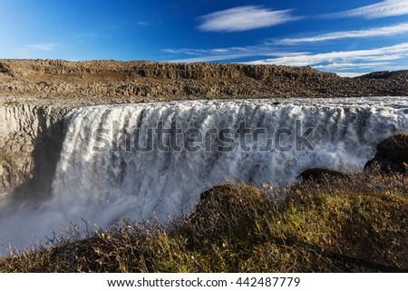 Dettifoss waterfall. Autumn travel in Iceland - stock photo