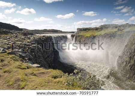 Dettifoss  waterfall (Iceland). It is the largest waterfall in Europe in terms of volume discharge.