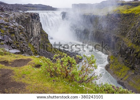 Dettifoss waterfall in in Northeast Iceland, one of the most powerful in Europe.