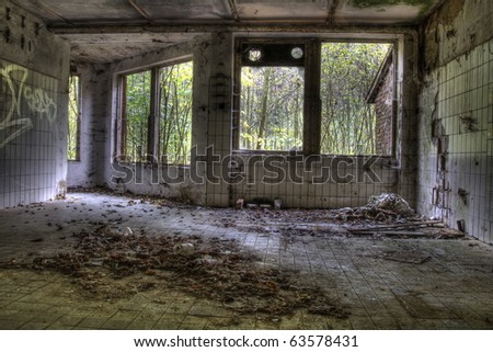 devastated houses - stock photo