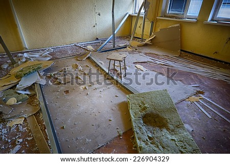 Devastated room designed for renovation - stock photo