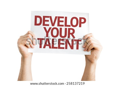 Develop Your Talent card isolated on white - stock photo
