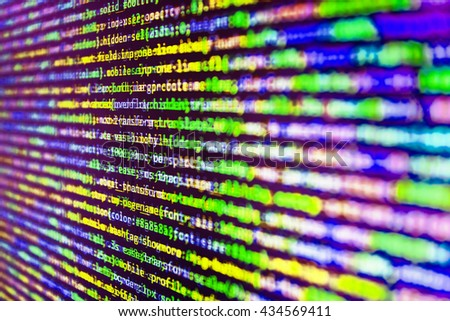 Developer working on program codes in office. Computer program. Abstract screen of software. Programmer developer screen. Source code photo.  Website codes on computer monitor. Programming code.   - stock photo