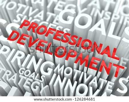 Development Concept. The Word of Red Color Located over Text of White Color. - stock photo