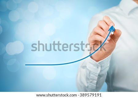 Development, growth and improvement concepts. Businessman plan growth and increase of positive indicators in his business, like efficiency, productivity, rating, revenue and success.