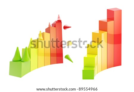 Development, growth conception: gaming pieces climbing through the chart isolated on white